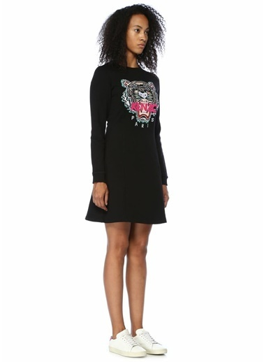 Kenzo Uzun Kollu Mini Elbise Siyah